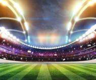 Les lumières à la nuit et au stade 3d rendent, Images libres de droits