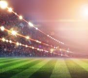 Les lumières à la nuit et au stade 3d rendent, Photo libre de droits