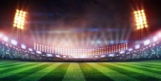Les lumières à la nuit et au stade 3d rendent, Image stock