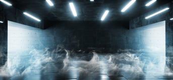 Les lumières blanches vides modernes lumineuses concrètes de Sci fi Hall Garage Tunnel Corridor With de grunge de fumée ont mené  illustration libre de droits