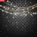 Les lumières de Noël ont isolé les éléments réalistes de conception illustration libre de droits