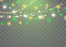 Les lumières de Noël ont isolé les éléments réalistes de conception Lumières rougeoyantes pour des cartes de vacances de Noël, ba illustration de vecteur