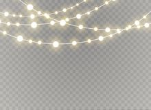 Les lumières de Noël ont isolé les éléments réalistes de conception Lumières rougeoyantes pour le design de carte de salutation d illustration de vecteur