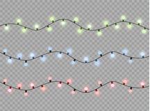 Les lumières de Noël ont isolé les éléments réalistes de conception Rougeoyer s'allume pour des cartes de vacances de Noël, banni Photo libre de droits