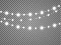 Les lumières de Noël ont isolé les éléments réalistes de conception Rougeoyer s'allume pour des cartes de vacances de Noël, banni Image libre de droits