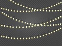 Les lumières de Noël ont isolé les éléments réalistes de conception Rougeoyer s'allume pour des cartes de vacances de Noël, banni Photographie stock