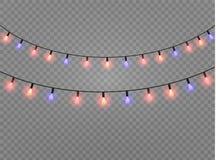 Les lumières de Noël ont isolé les éléments réalistes de conception Rougeoyer s'allume pour des cartes de vacances de Noël, banni Image stock