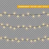Les lumières de Noël ont isolé les éléments réalistes de conception Photos stock