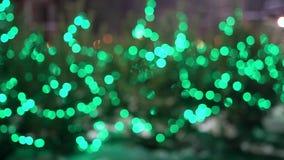 Les lumières de Noël vertes brouillées rougeoient et clignotent banque de vidéos