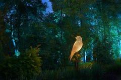 Les lumières de nuit montrent le ` d'inspiration de ` dans le parc de cité-jardin d'Ostankino Centaines de lumières dans la forêt Image libre de droits