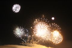 Les lumières des feux d'artifice Image libre de droits