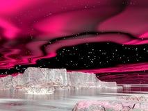 Les lumières du nord (aurora borealis) - 3D rendent Image stock