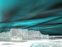 Les lumières du nord (aurora borealis) - 3D rendent Images libres de droits