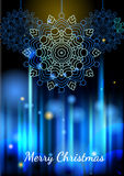 Les lumières et les flocons de neige sur le bleu ont brouillé le fond, effet de bokeh Photo libre de droits