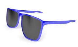 Les lunettes de soleil bleues élégantes avec l'obscurité ont teinté des lentilles pour la protection du soleil Image libre de droits