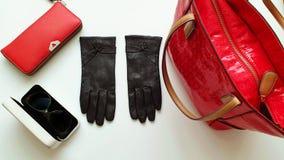 Les lunettes de soleil de gants en cuir pincent le ressort Autumn Womens Accessories de mode vêtent le concept photo libre de droits