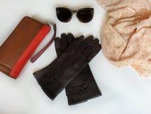 Les lunettes de soleil de gants en cuir pincent le ressort Autumn Womens Accessories de mode vêtent le concept photographie stock