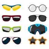 Les lunettes modernes de lunettes de soleil de mode du soleil de cadre en plastique accessoire réglé de lunettes dirigent l'illus Image stock
