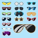 Les lunettes modernes de lunettes de soleil de mode du soleil de cadre en plastique accessoire réglé de lunettes dirigent l'illus Images libres de droits