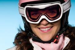 les lunettes proches skient vers le haut du femme images libres de droits