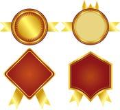 Les médailles d'or et ont placé un cadre Photo stock