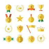 Les médailles de dessus de gagnant de champion de succès du numéro un de couronne d'étoile d'insigne de trophée de récompense de  illustration stock