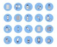 Les médecines, formes galéniques dirigent la ligne icônes Médicaments de pharmacie, comprimé, capsule, pilule, antibiotiques, vit illustration libre de droits