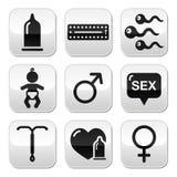 Les méthodes de contraception, sexe boutonne le sexe Photos libres de droits