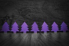 Les mêmes arbres de Noël pourpres Photos libres de droits