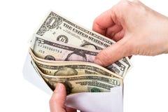 Dollars d'argent liquide dans l'enveloppe Photo libre de droits