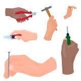 Les mains avec la construction usine l'illustration de bricoleur de rénovation de Chambre de style de bande dessinée de vecteur Photo stock