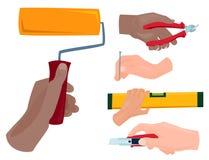 Les mains avec la construction usine l'illustration de bricoleur de rénovation de Chambre de style de bande dessinée de vecteur Photographie stock