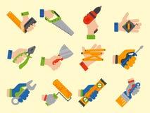 Les mains avec la construction usine l'illustration de vecteur de bricoleur de rénovation de maison d'équipement de travailleur illustration libre de droits