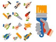 Les mains avec la construction usine l'illustration de vecteur de bricoleur de rénovation de maison d'équipement de travailleur illustration de vecteur