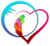 Les mains avec le vecteur médical de travail d'équipe de soins de santé de coeur conçoivent photo libre de droits