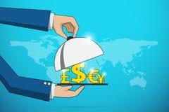 Les mains d'affaires ouvrent la cloche argentée pour servir le concept jaune de symbole monétaire, financier et d'affaires illustration libre de droits