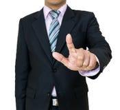 Les mains d'homme d'affaires pressent la poussée de bouton Images libres de droits