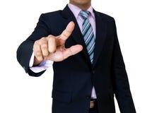 Les mains d'homme d'affaires pressent la poussée de bouton de l'écran tactile Image stock