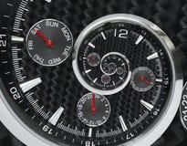 Les mains d'horloge rouges noires argentées modernes de montre d'horloge de mode ont tordu à la spirale surréaliste de temps Abst Photo libre de droits
