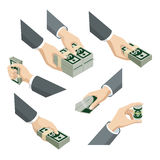 Les mains 3d isométriques plates avec des notes du dollar emballe : l'argent donnent la prise Photos libres de droits