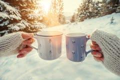 Les mains de couples dans des mitaines prennent des tasses avec le thé chaud dans des avants d'hiver Images libres de droits