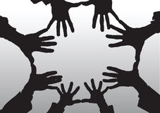 les mains de dessin animé ouvrent la silhouette Image libre de droits