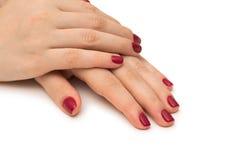 Les mains de femme avec le clou rouge d'isolement sur le blanc Photo libre de droits