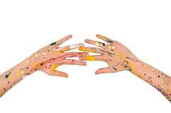 Les mains de femme en peinture font une forme gratuite photos libres de droits