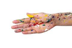 Les mains de femme en peinture font une forme gratuite images libres de droits