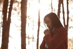 Les mains de femme se sont pliées dans la prière en beau parc de pin de nature photos libres de droits