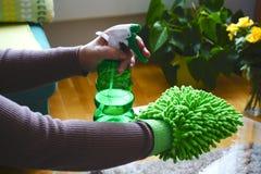 Les mains de femmes nettoient avec des produits d'entretien de ménage image stock