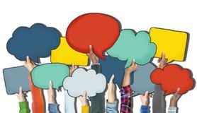 Les mains de groupe tenant la parole bouillonne concept illustration de vecteur