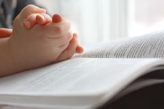 Les mains de l'enfant en bas âge priant sur la Sainte Bible Photos stock