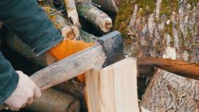 Les mains de l'homme coupent de grands rondins et troncs d'arbre avec la hache pour un futur feu clips vidéos